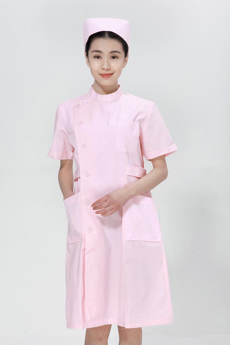 粉色龙8娱乐最新网址夏装右偏襟立领