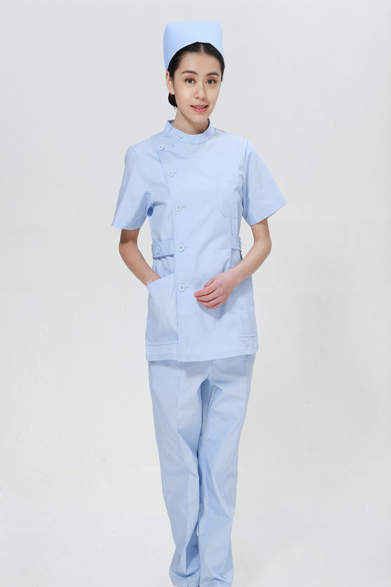 Blue nurse summer suit right side opening collar